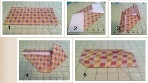Folding steps for the origami envelope.