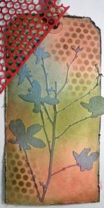 Adding color through a stencil.