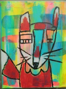 Melanie and her Mixed Media inspired fox painting