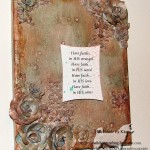 Kim Kelly collects many elements to make a mixed media collage canvas