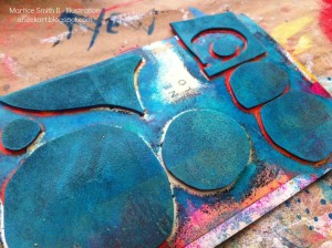 Handmade printing plate, with circles and paint by artist Martice Smith II. Tutorial: 'Handmade Foam Stamps & Printing Plates'