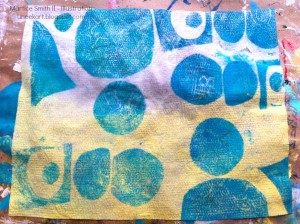 Baby wipe printed with handmade foam printing plates'. Handmade printing plate on cardstock by artist Martice Smith II.