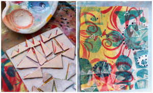 Adding paint onto handmade triangle stamp; stamping randomly onto baby wipe.