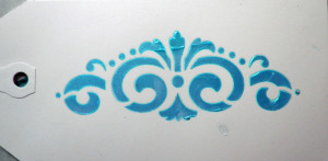 Tag Sample of Stenciled Radiant Gels