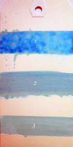 Tag Sample of Shimmering Mists applied with mister and paint brush.