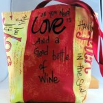 Completed mixed media art bag project
