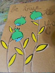 Creating artwork on Kraft paper{alternative description