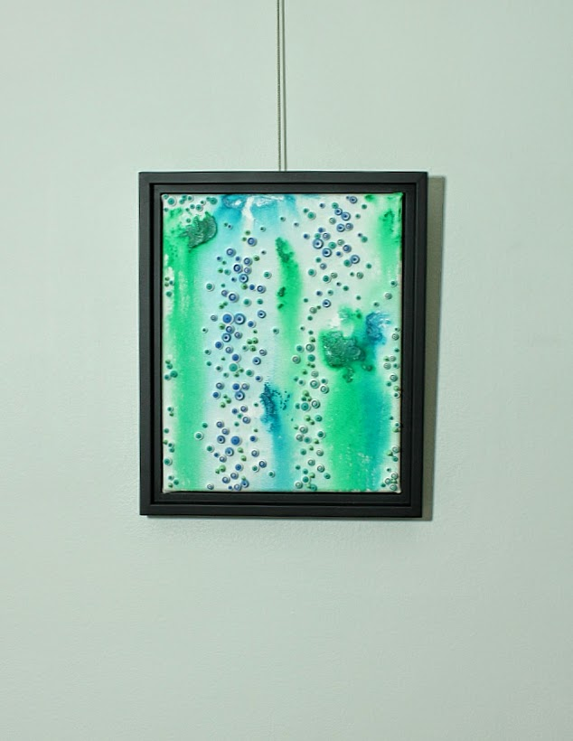 creating canvas art. Mixed Media painting with acrylic background  Pacific Reef Acrylic Background