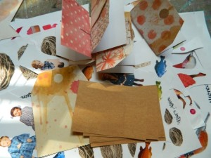 Making little story books from paper tags.