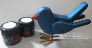 painted bird with Silks paint jars
