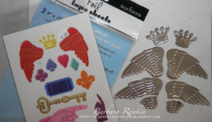 photo of metal foil covered cardstock and diecuts