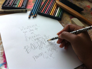 photo example of Martice demo of creative hand-lettering, using a pencil