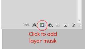 Screenshot of 'Add layer mask' icon, at the bottom of Layers Panel in Photoshop