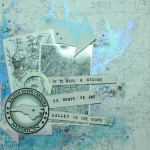 Mixed Media map collage with chipboard elements