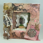 Under Glass- mixed media steampunk art