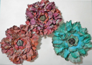 three finished flowers
