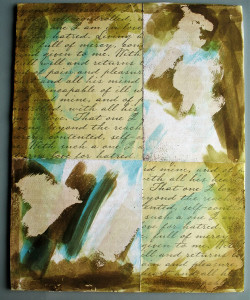 Scripted Paper with Inked with Blue & Brown Distress Stain