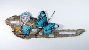 Displaying art on a bark substrate.