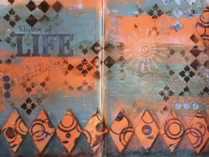 art jounraling with gel prints and handmade art journal